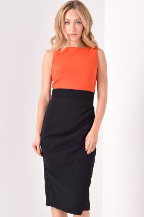 Pippa Ruched Two Tone Dress in Rust