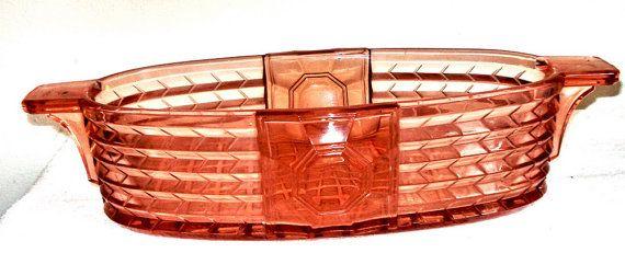 Rare VSL Art Deco Luxval Pink Glass Center Piece Bowl 1935
