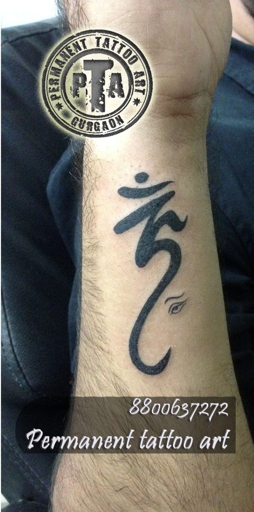 Om tattoo, om tattoo with Ganesha, om tattoo design for men, om tattoo design for girls, om tattoo design on wrist Done by -Deepak Karla 8800637272 AT- Permanent tattoo art, Gurgaon