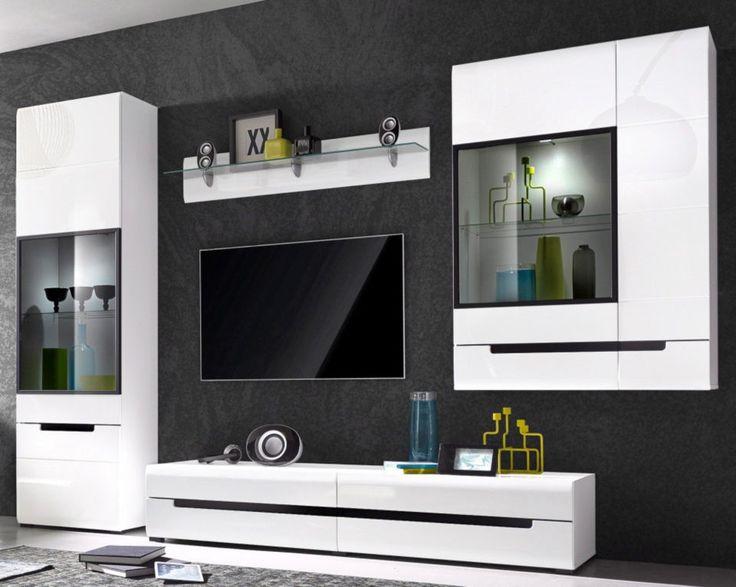 HEKTOR 11 MEBLOŚCIANKA - zestaw mebli pokojowych w biały wysokim połysku z czarnymi wstawkami, drzwiczki i szuflady z opcją cichego domyku Praktyczne połączenie i funkcjonalnośi i oryginalnej stylistyki