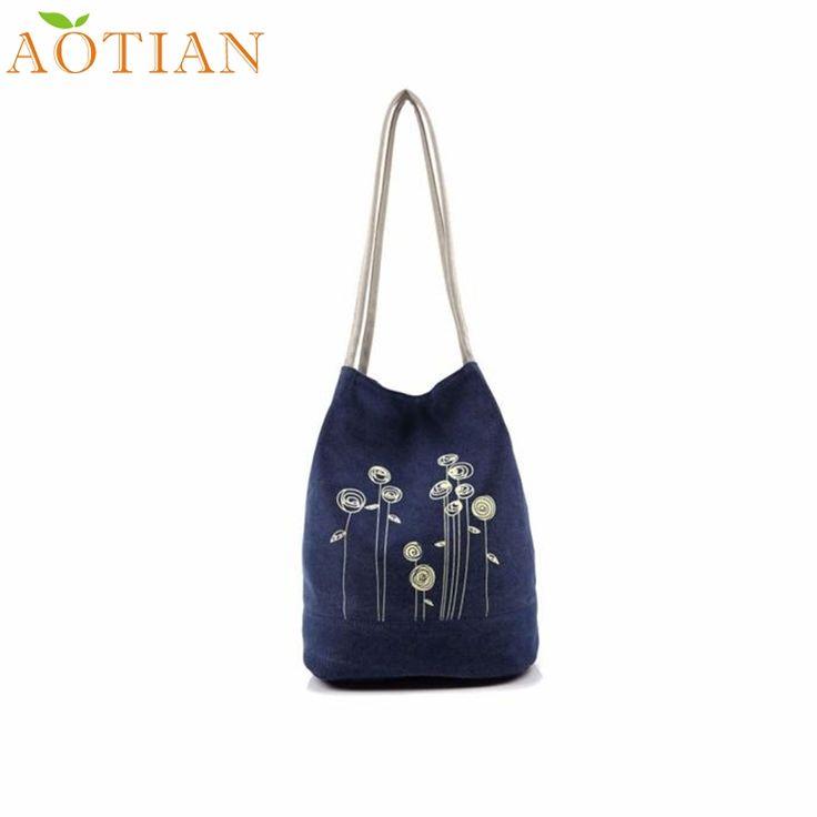AOTIAN Shoulder Bag Canvas Women Handbags Bucket Ladies Casual Floral Tote Bag a22  Drop Shipping Wholesale