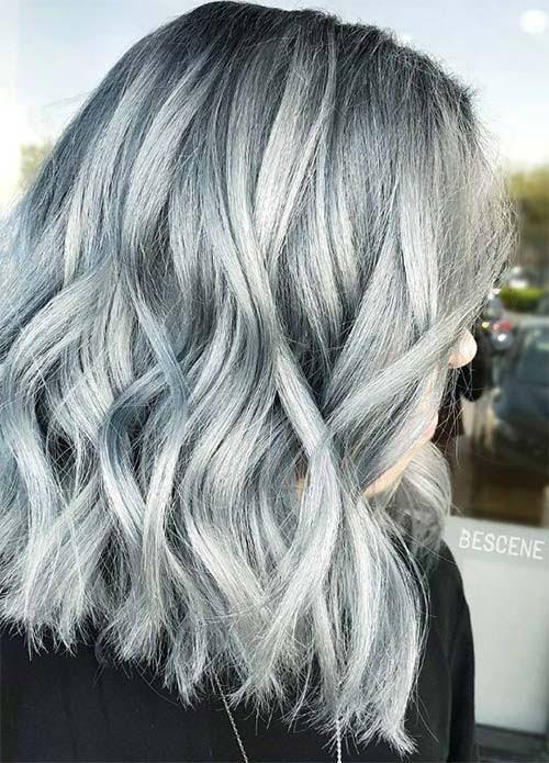 Blue Denim Hair Colors: Stonewashed Silvery Blue Medium Bob
