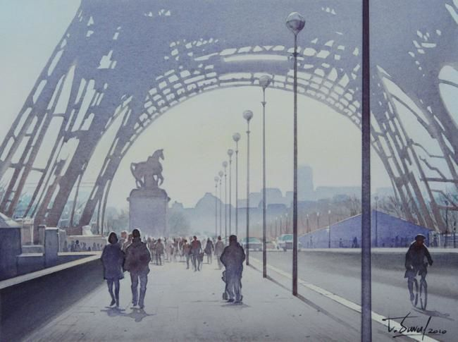 """Etude pour (Peinture),  18x24 cm par Thierry Duval Aquarelle originale - Paris - Aquarelle d'étude pour le tableau """"La Tour Eiffel et le cycliste"""". Une tour Eiffel tronçonnée, des verticales de réverbères qui se multiplies à l'infinis et segmentent la composition pour créer cette étrange vision d'un songe vertigineux sur Paris. Format : 18 cm x 24 cm. Size : 7 in x 9,5 in."""