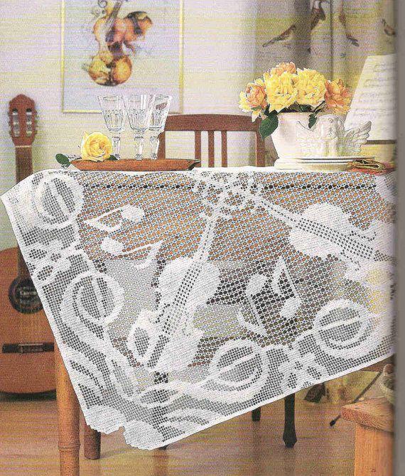 Handmade Filet Crochet Tablecloth, White, Heirloom, Victorian, Rustic, Wedding Gift