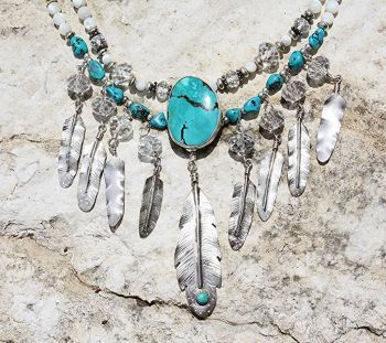 """LONE EAGLE STUDIOS """"SUNRAYS"""" STERLING, CRYSTAL  TURQUOISE FEATHERS NECKLACE from Cowgirl Kim"""