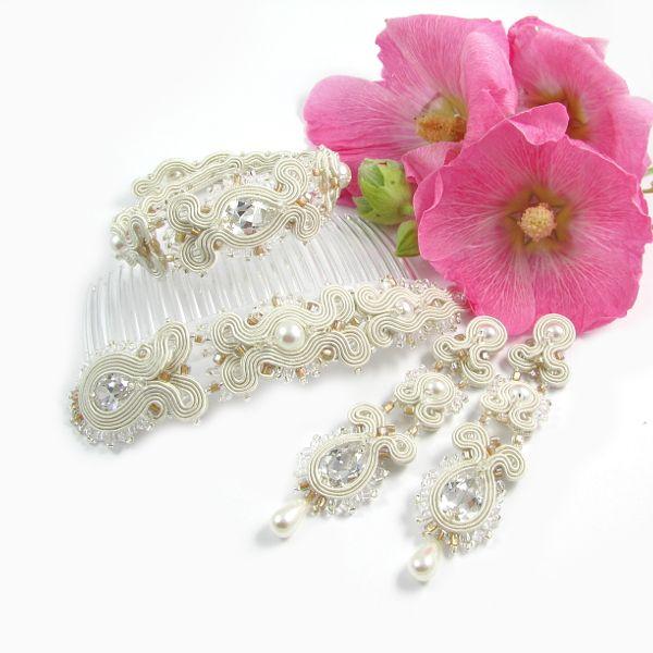Wedding Set con circonitas y perlas