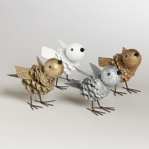 White, Silver, Copper and Gold Pinecone Birds, Set of 4 | World Market