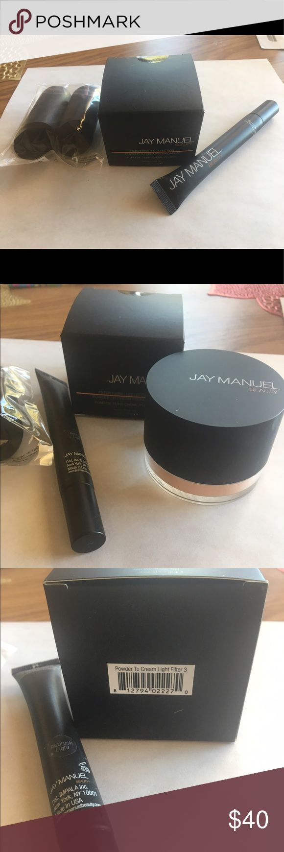 Jay Manuel Beauty Foundation Collection Jay Manuel Beauty powder to cream foundation.  Comes with:  Powdered cream light filter number three (shown in picture)  Jay Manuel Photo illusion concealer airbrush light color.  Two black beauty blenders. Only used once! Perfect condition Jay Manuel Makeup Foundation
