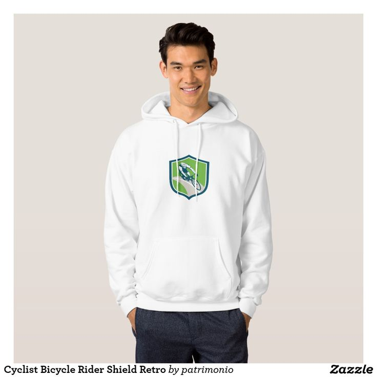 Cyclist Bicycle Rider Shield Retro Hooded Sweatshirt. 2016 Rio Summer Olympics men's hoodie showing an illustration of an athlete cycling on road viewed from high angle set inside a shield on isolated background done in retro style. #cycling #olympics #sports #summergames #rio2016 #olympics2016
