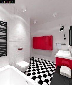 Czarno biała lazienka z elementami różu + toaleta z żółtym akcentem