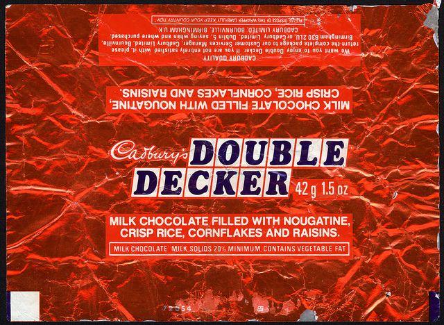 UK - Cadbury's - Double Decker - chocolate bar foil wrapper - 1970's