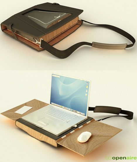 Wood Chair + Desk Fold into a Computer Bag