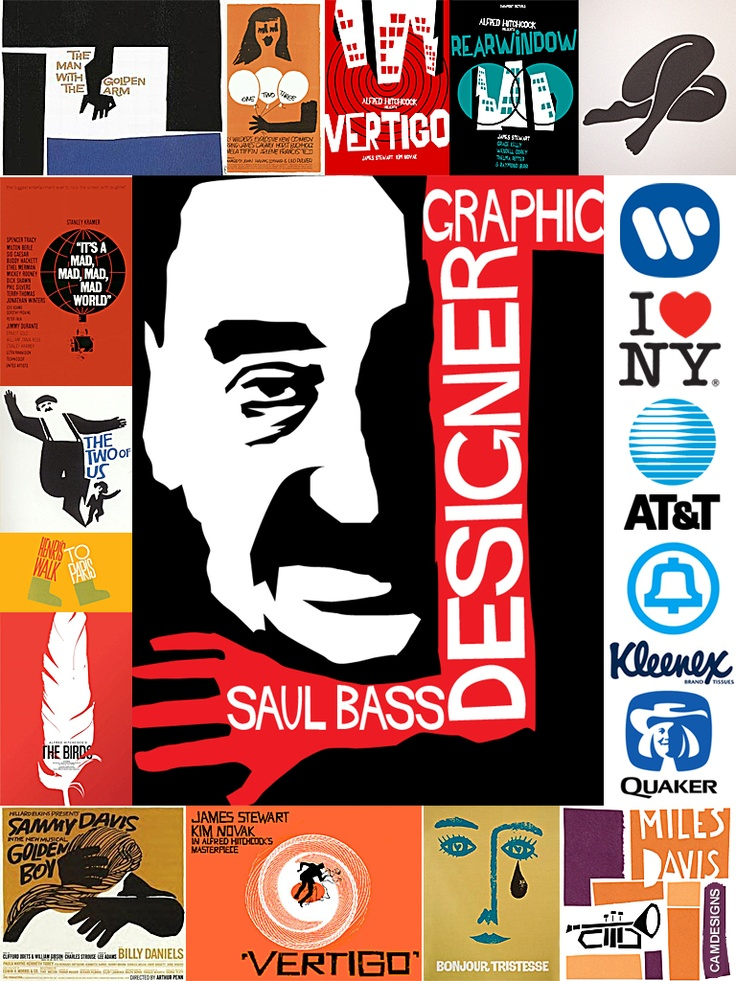 Saul Bass (May 8, 1920 – April 25, 1996) was a graphic designer & filmmaker, best known for his film posters & motion picture title sequences. During his 40-year career Bass worked for some of Hollywood's greatest filmmakers. One of his most famous title sequences is the animated paper cut-out of a heroin addict's arm for Preminger's The Man with the Golden Arm. Bass designed some of the most iconic corporate logos in North America, including the 1969 AT bell & United Airlines 1974 tulip.