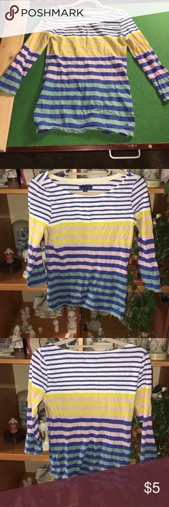 American Eagle 3/4 sleeve striped shirt American Eagle Outfitters 3/4 sleeve multi colored striped shirt. Size: Small American Eagle Outfitters Tops