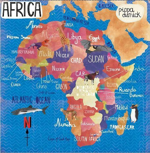 Africa is the second largest continent in the world. It is very diverse, with a wide variety of land, climate changes, and wildlife.  Africa is the most populated continent: 1,022,234,000 people.  African languages are varied with more than 1000 languages spoken across the continent #map #countries #continent