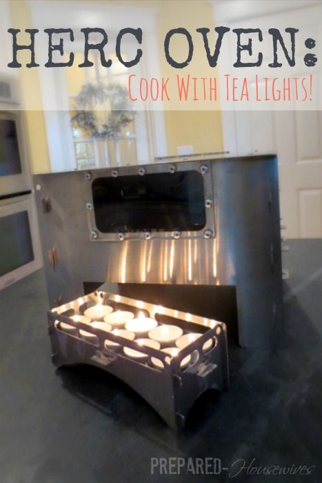 HERC Oven: Needs only tea light candles to cook! An emergency cooking method you need to check-out! Prepared-Housewives.com #alternativecook...Trav'Lin Lights, Herc Ovens, Cooking Method, Preparedness Housewives Com, Emergency Cooking, Preparing Housewives, Emergency Preparedness, Teas Lights Candles, Tea Lights