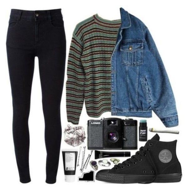 sweater grunge denim jacket aesthetic tumblr tumbl…