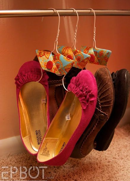20 Creative Shoe Storage Ideas For Small Spaces  Store flats and pumps by bending an inexpensive wire hanger into loops to go into the toes, then hang shoes on a rod.