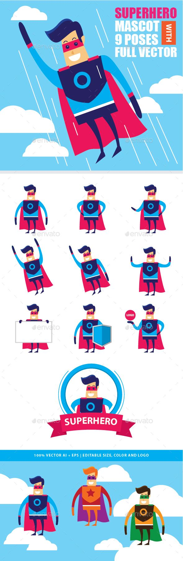 Superhero Mascot Vector Kit