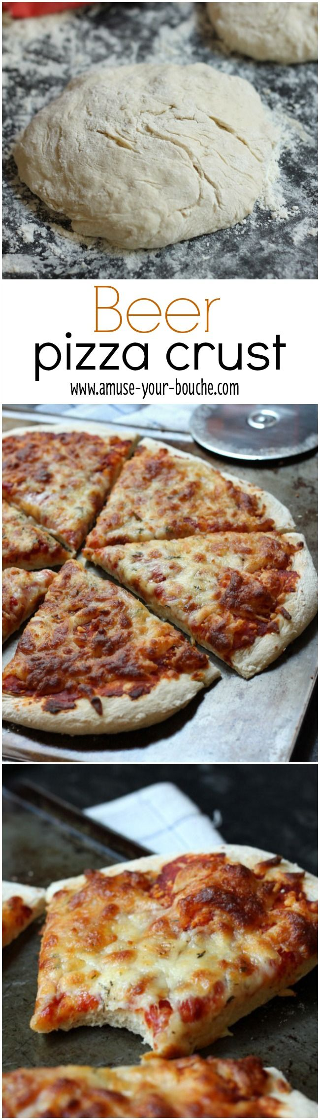 Beer pizza crust - a thin pizza crust that's really easy to make! And it contains beeeer!