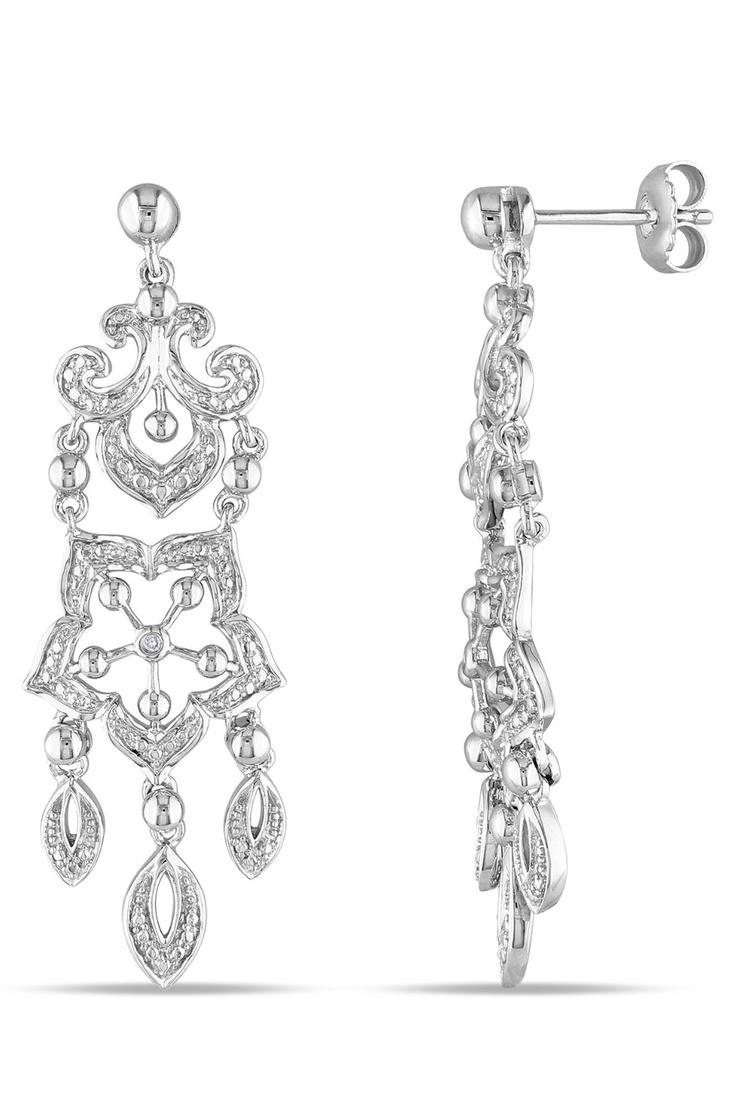 Eclipse 488 Mm 001 Ct Diamond Chandelier Earrings In Silver If These Were  In Gold In