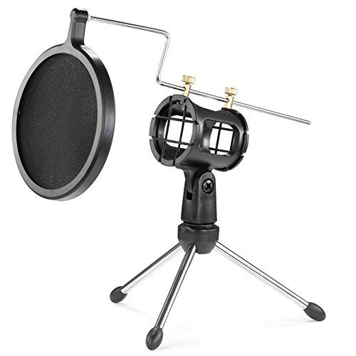 Neewer Foldable Desktop Microphone Tripod Stand with Shock Mount Mic Holder and Double-Net Pop Filter for Podcasts, Internet Chat, Meetings, Lectures, and More