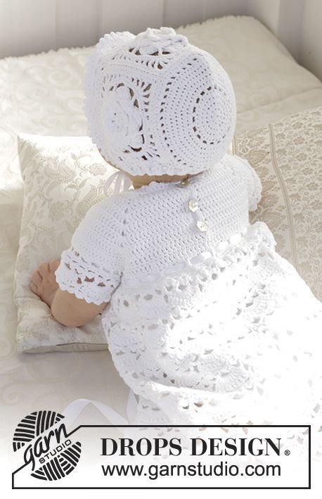 The set is made up of: Dress for Christening or special occasions, worked top down with raglan and open fan pattern in DROPS Safran. Crochet hat with flower squares and fan edge in DROPS Safran. Sizes 0 - 2 years. Free pattern by DROPS Design.