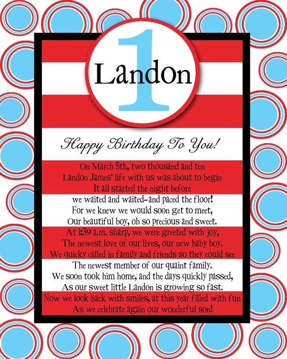 8x10 Birthday POEM Great As A Centerpiece, Book Insert