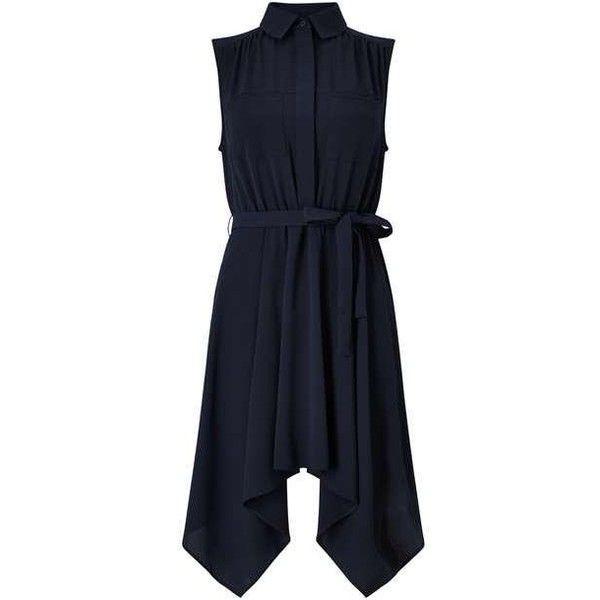 PETITE Hanky Shirt Dress ($51) ❤ liked on Polyvore featuring dresses, long shirt dress, shirt dress, t-shirt dresses, blue dress and petite dresses