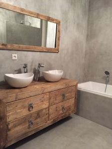 Landelijk badkamermeubel met waskommen