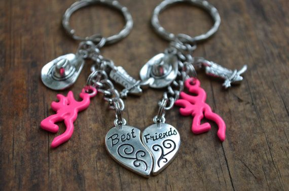 Country Best Friends Keychain Set deer head by TexasHospitality