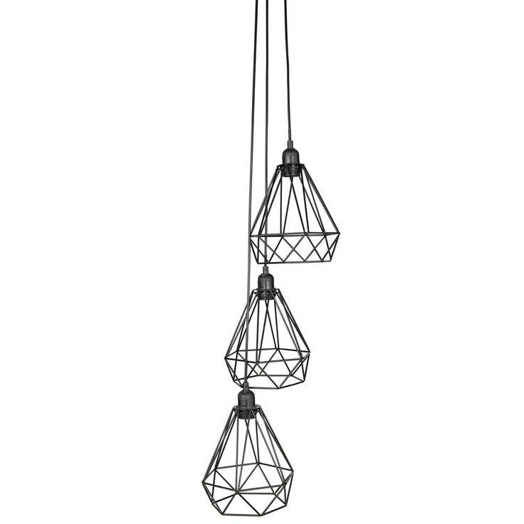 Suspension 3 lampes en métal noir D.30cm | Maisons du Monde