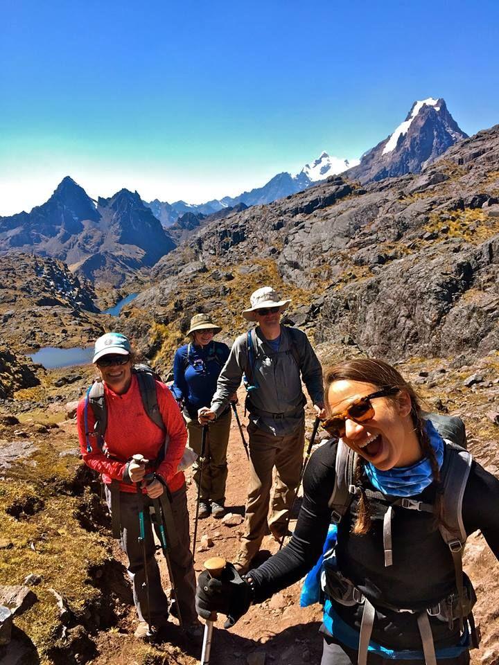 Rebecca Washlow, Ultimate Peru Adventure 'Jaguar' trip  A great selfie, under a blue sky canvas, whilst hiking the Lares Inca Trail in Peru.