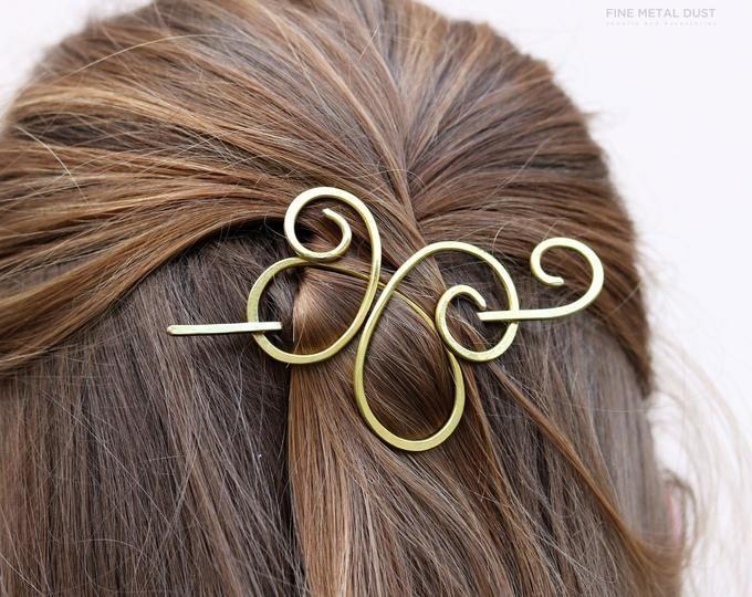 Celtic Knot Hair Barrette Copper Hair Clip Gift U Shaped Hair Fork Slide