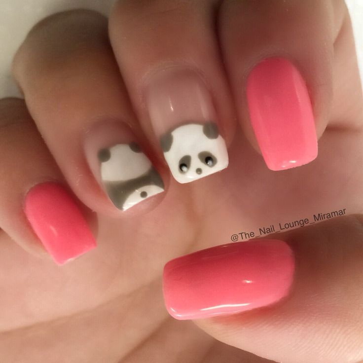 Panda bear nail art design