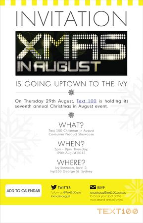 Text100 promises changes to its 'Christmas in August' event. http://influencing.com.au/p/43458