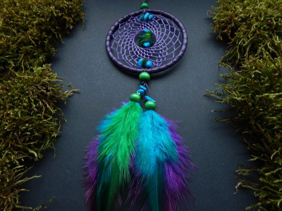 Dream catcher rear view mirror charm car decor hanging mobile pendant hippie bohemian Native American turquoise feather gemstone accessory