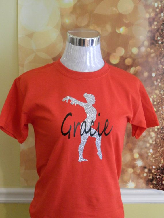 Gymnastic Shirt - Personalized with Name and Gymnasist Silhouette - Glitter Heat Transfer Vinyl