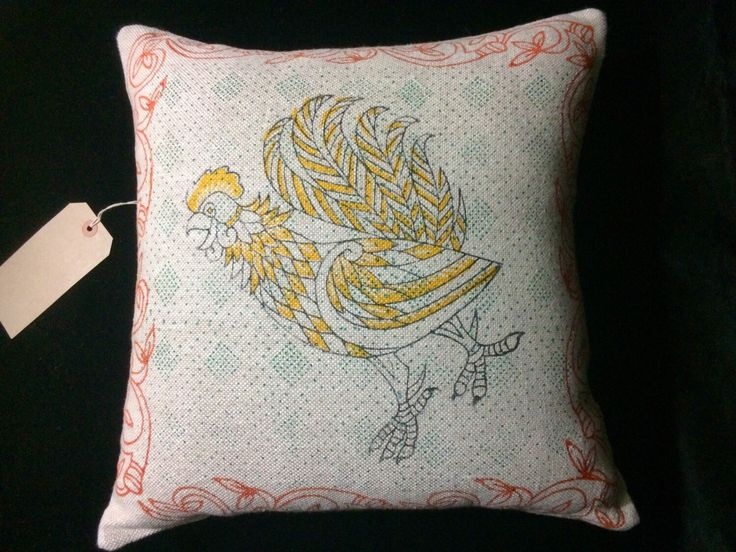 This 100% irish linen pillow cover has been hand block printed using celtic animal design - the rooster - in black , red , yellow and green with fabric inks- an environmentally friendly product!  The pillow cover fabric is beautiful heavy weight irish linen (480grams per metre).  The wooden blocks
