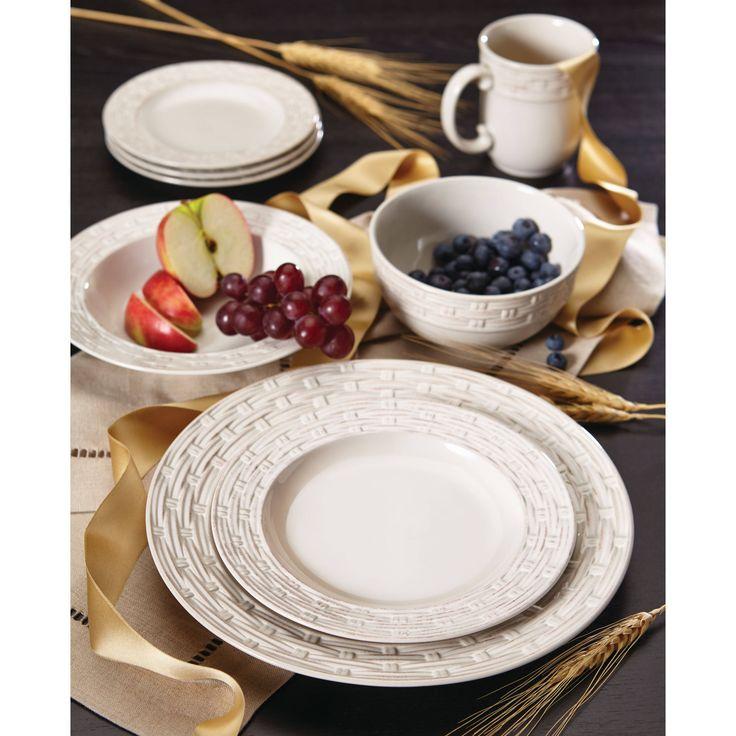 Paula Deen Vineyard Basket Stoneware Dinnerware Set (Cream), Beige Off-White