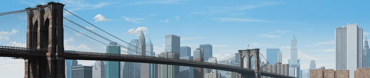 """Digital Illustration with Adobe Photoshop CS5 Extended by Daniel Johnson    An illustration of the Brooklyn Bridge. The end client is a construction and infrastructure company and it will be used as the header image of their calendar for next year. The final image was 26"""" long, but not so tall, so it's a hard format to show, but here is a detailed section of it. The illustration was painted from scratch in Photoshop and took just over a week of full-time work to complete."""