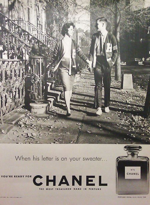 """1959 ad for Chanel No.5 """"WHEN HIS LETTER IS ON YOUR SWEATER"""" icon-icon.com"""
