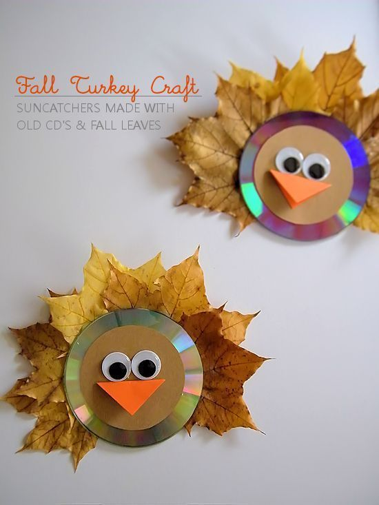 Fall Leaf Turkey Craft - using old CDs and fallen leaves to make a great Thanksgiving or seasonal craft