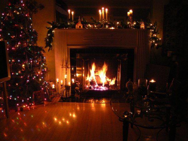 Christmas Tree Living Room At Night Fireplace Wallpaper