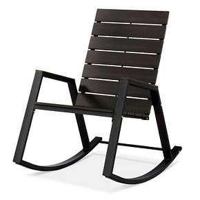 • Made of steel<br>• Rust resistant<br><br>Get comfortable on the front porch or back deck in the Patio Rocking Chair from Threshold. This outdoor rocking chair resists bad weather and looks good with its slat-back design.