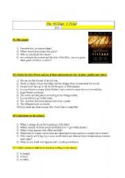 English worksheet:  Movie : The village
