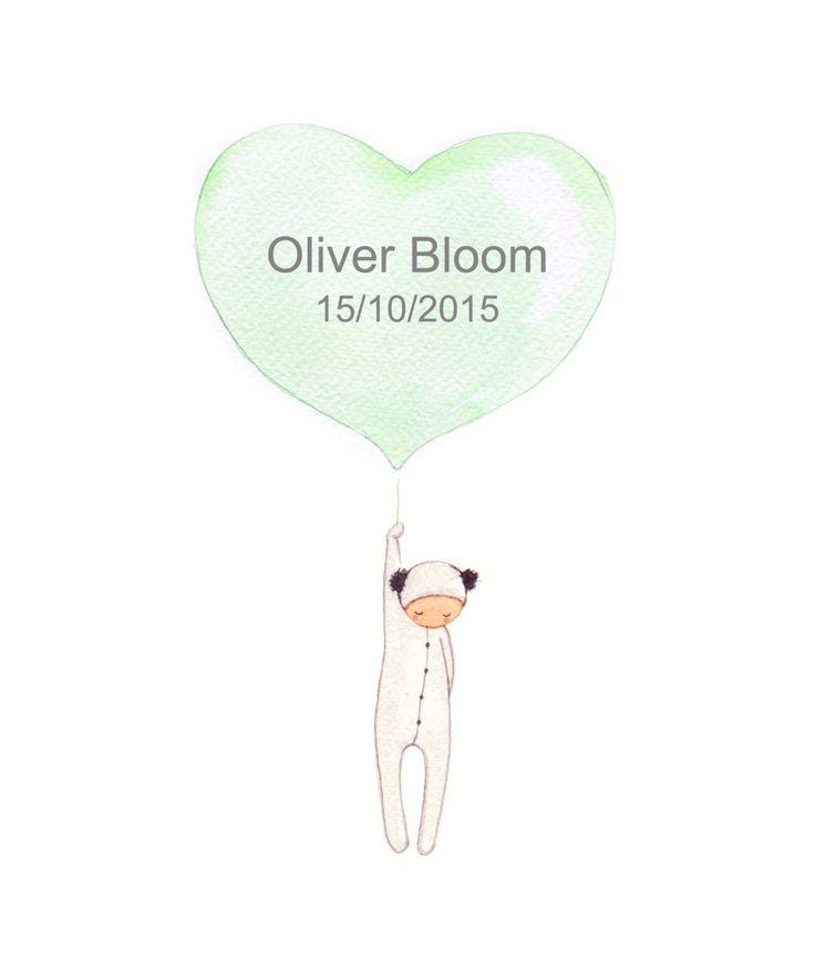 Panda, Balloon Print, Nursery Wall Decor, New Baby Gift, Custom Name Art, Kids Room, Animal Nursery, Childrens Print by OneLittleBundle on Etsy