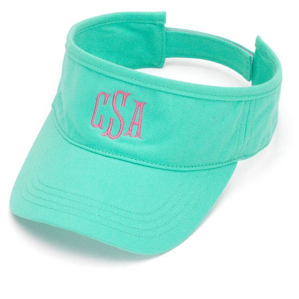 Mint Visor Hat With Monogram ($13) ❤ liked on Polyvore featuring accessories, hats, barrettes & clips, black, hair accessories, velcro hat, sun visor, visor hats, sun visor hat and bow hat