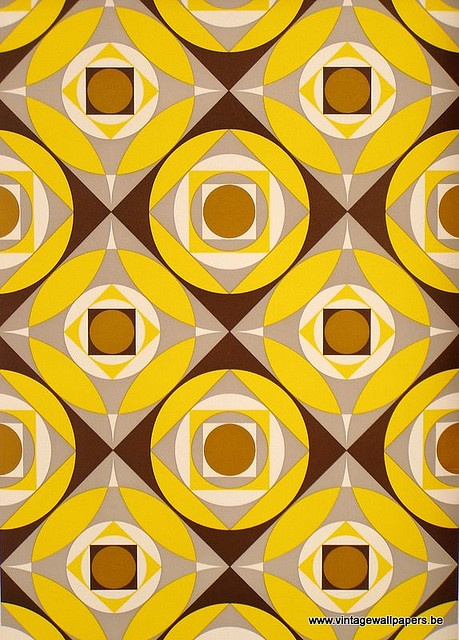 Kathy Kavan retro wallpaper pattern, from a lovely selection on her blog