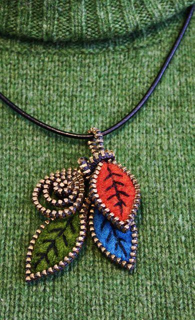 Leaf pendant by woolly  fabulous, via Flickr